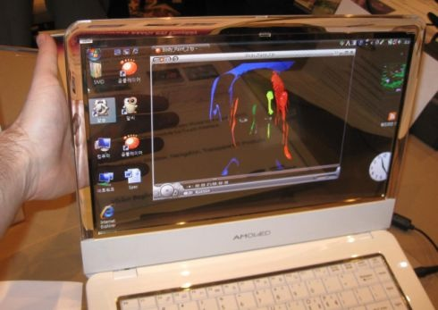 Samsung представила прототип ноутбука с прозрачным OLED дисплеем
