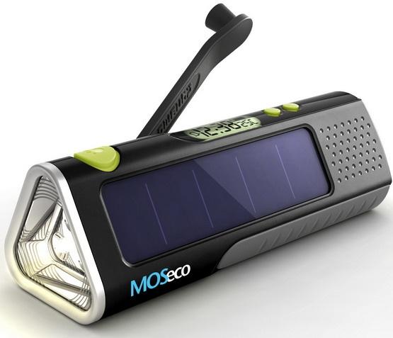 MOSeco ES905: зарядное устройство для портативной техники с солнечной батареей, аккумулятором и динамо-генератором