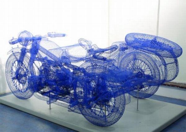Реалистичные скульптуры из проволоки (10 фото)