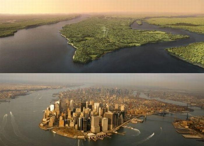 Остров Манхеттен 400 лет назад