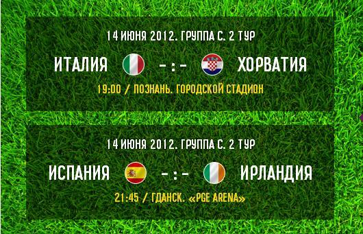 Накануне: Италия - Хорватия, Испания - Ирландия