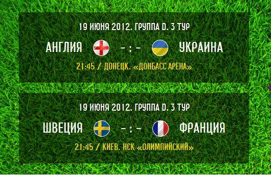 Группа D - 3-й тур - Накануне: Англия - Украина, Швеция - Франция