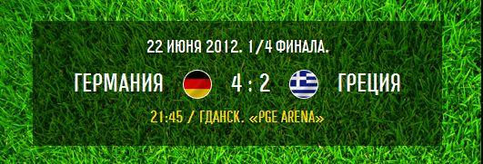 1/4 финала: Германия 4:2 Греция