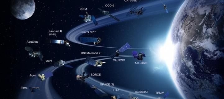NASA показало орбитальную группировку спутников Земли в динамике